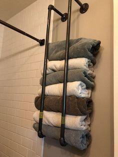 diy bathroom decor towel rack ideas in your bathroom to make look organized Diy Bathroom, Bathroom Towels, Bathroom Furniture, Bathroom Ideas, Bathroom Towel Storage, Bathroom Organization, Bathroom Cabinets, Bathroom Makeovers, Basement Bathroom
