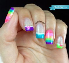 Gelish All About the Glow Rainbow French Nail Art