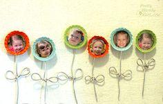 Bottle cap photo magnets.. so cute!