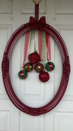 Wreath. Old frame, painted red, and Christmas ornaments