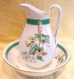French Paris Wash Pitcher & Basin Bowl White Morning Glories c 1880