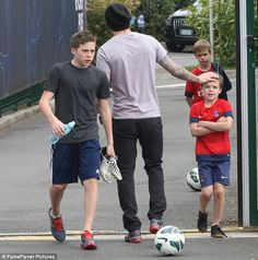 David Beckham and his sons Brooklyn, Romeo and Cruz enjoyed a training session together in Paris on Saturday
