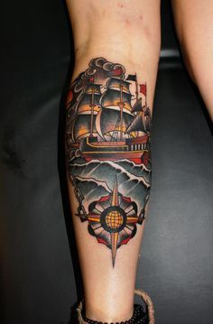 tattoo old school / traditional nautic ink - ship