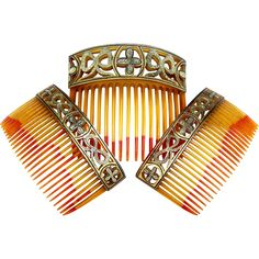 Boxed Set Three Hair Combs Victorian Damascene Work Hair Accessories : The Spanish Comb Ball Hairstyles, Flower Girl Hairstyles, Ruby Lane, Edwardian Hairstyles, Vintage Hair Combs, Vintage Hair Accessories, Thing 1, Glamour, Hair Ornaments