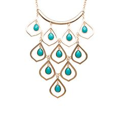 Carol Dauplaise Cascade Teardrop Statement Necklace Turquoise up to 70% off | Jewelry | Little Black Bag