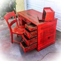 Farmhouse Red Desk w/ matching chair shabby chic vintage