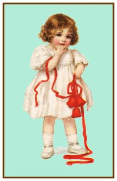Little Girl Holiday Bow Frances Brundage Christmas Counted Cross Stitch or Counted Needlepoint Pattern
