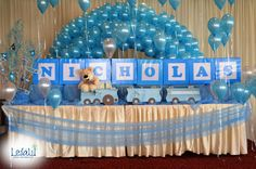 Candy Table with Balloons and boxes for Baby Boy Blue Themed Baby Shower Decorations by Leila Events (01064). For orders or further info call or whatsapp +201222220889