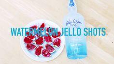 Watermelon Jello Shots Makes 40 shots INGREDIENTS 10 limes 1 box watermelon Jello 1 c. boiling water 1 c. cold Blue Chair Bay White Rum Mini chocolate chips ...
