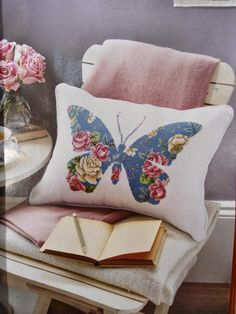 Moje Hand Made - this looks like needlepoint, but why not use a chintz fabric and appliqué the shape?