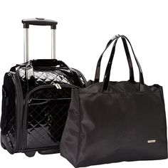 Travelon Luggage Wheeled Underseat Carry-On With Back-Up Bag In Quilted Patent Pvc Material, Black, Small: Amazon.ca: Luggage & Bags
