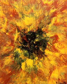 """Sunflower"", Abstract Art by Eric Siebenthal. More at Acrylicmind.com $260.00"