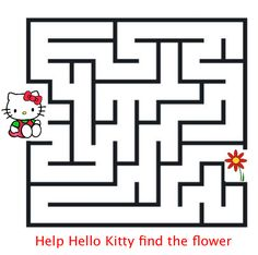 Hello Kitty& games: Maze : Mad about Kitty Kitty Party Games, Cat Party, Mickey Mouse Parties, Mickey Mouse Birthday, Toy Story Party, Toy Story Birthday, Hello Kitty Games, Printable Mazes, Hello Kitty Coloring