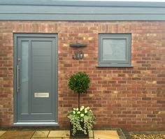 Contemporary timber Entrance door painted Agate grey