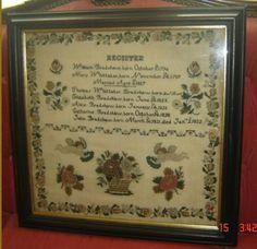 ANTIQUE NEEDLEWORK SAMPLER FAMILY REGISTER 1832 BRADSHAW & WHITTAKER FAMILY RARE
