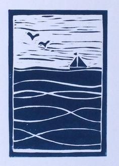 Original Lino print of sailing boat on the sea (mounted,unframed) Inspired by my new life living by the sea in Devon, England. Image size: x Mount size: x As each print is unique, variations will occur. Devon, Linoprint, Stamp Printing, Coastal Art, Chalk Pastels, Aboriginal Art, Linocut Prints, Printmaking, Block Prints