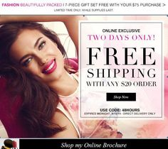 Kristi Smith: For 2 Days ONLY! Free Shipping for $20+ orders. Enter Shipping Co…   FindSalesRep.com