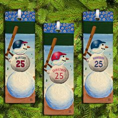Customized Snowman Baseball Christmas Ornament or Bookmark by PaulConnerStudios on Etsy