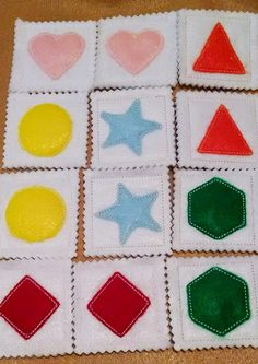Learn your shapes Memory game has 6 sets 12 cards with bright colors. Children will love the challenge and spend hours playing with this memory game while learning their shapes. Perfect stocking stuffer or special gift for a school friend. The cards are made with 2 layers of felt with a layer of stabilizer in the middle. All of the pieces are machine sewn and very sturdy. Measurements are 2 1/2 x 2 1/2 inches This game is good for your childs memory and cognitive ability and they will…