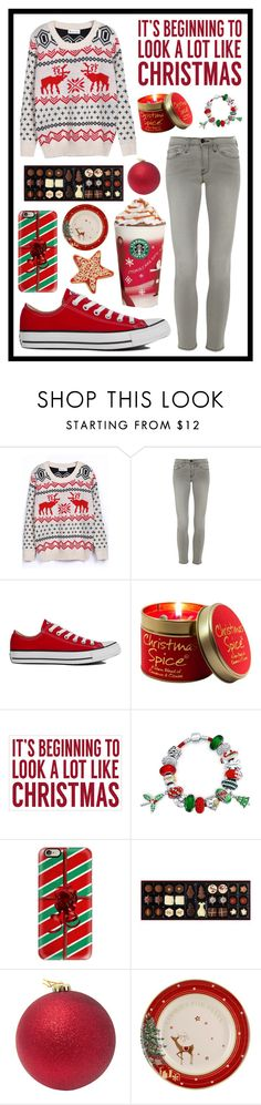 """""""#282 it's beginning to look a lot like christmas"""" by xjet1998x ❤ liked on Polyvore featuring WithChic, Frame Denim, Converse, Lily-Flame, Sixtrees, Bling Jewelry, Casetify, Spode, women's clothing and women"""