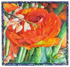 """Flowers for Lannis by Joseph Raffael, 2009, (watercolor on paper), 42.25 x 44 inches. A bright, bold celebration of colorful natural form with a hand painted border. The artist, a well-known American painter and watercolorist, says, """"Painting has been for me the way to explore the exalting and profound mystery of being alive & here on this earth."""" #flowers #roses #stillife"""