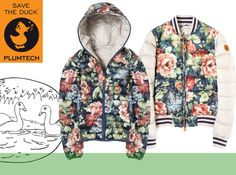 - Save the Duck, piumini fantasia senza piume d'oca - PLUMTECH, Moda Ecologica, winter trend Green Fashion, Style Fashion, Winter Trends, Raincoat, Style Inspiration, Cool Stuff, Floral, Mens Tops, How To Wear