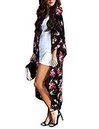 Yonala Women's Flower Pattern Sheer Chiffon Beachwear Bimini Cover Ups Kimono Cardigan - A-floral One Size Chiffon Cover Up, Sheer Chiffon, Floral Chiffon, Print Chiffon, Floral Cardigan, Kimono Cardigan, Blouse, Plus Size Maxi Dresses, Short Sleeve Dresses