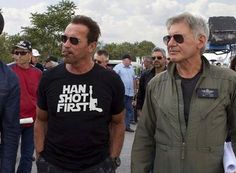 I need your Wookie, your Blaster and your Millennium Falcon! Arnold Schwarzenegger and Harrison Ford on the set of The Expendables 3.