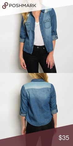 Mixed Denim Button Up Shirt Brand New , Button Up Visit mvas-boutique.com to purchase at a discounted price MAKE A OFFER Tops Button Down Shirts
