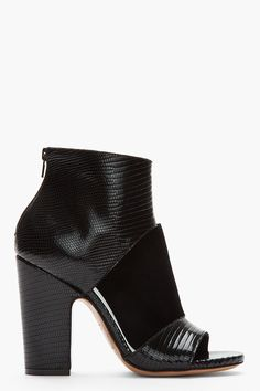 MAISON MARTIN MARGIELA Black Folded Suede & Croc-Embossed Leather Cut-Out Heels