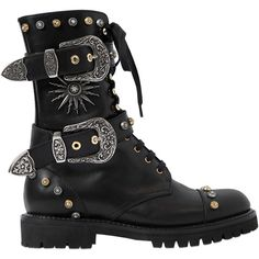 Fausto Puglisi Women 30mm Studded Leather Combat Boots ($1,180) ❤ liked on Polyvore featuring shoes, boots, ankle booties, black, lace up boots, black lace up boots, black boots, army boots and lace up booties
