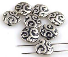 8 textured silver 2 hole slider beads 10713-H3