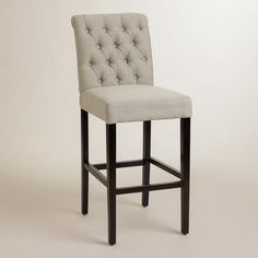 The Plush Tufted Back Of Our Attractive Beach Harper Barstool Creates Instant Drama Crafted Espresso Finished Hardwood With Velvety Microfiber