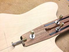 Minimalist lightweight offset bolt-on with Formica! Wooden Musical Instruments, Guitar Neck, Cigar Box Guitar, Fender Telecaster, Guitar Building, Guitar Design, Custom Guitars, Acoustic Guitar, Woodworking