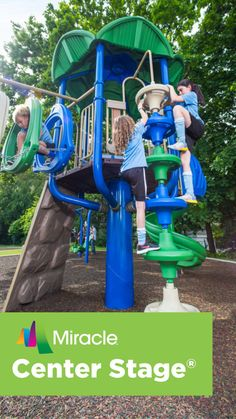 Thrills Take Center Stage Here! The Miracle® Recreation line of Center Stage® playground equipment is designed around a single pedestal. This creates a great design and open-concept style of play that looks terrific. The line is perfect for any neighborhoods, schools or churches looking for commercial playground equipment. Since Center Stage equipment helps eliminate blind spots and hidden areas, it creates clear lines of sight and allows caregivers to see children at all times.