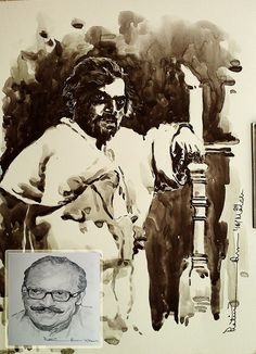 Birthday tribute to one of the finest Stage and Cinema actor, Theatre Director, Writer, Intellectual ... UTPAL DUTTA (29 march 1929 , 19 august 1993)... Watercolour( from the drama Othelo) and pencil sketch(inset, portrait) ... 8*10inch and a5 ... 2016