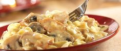 Here's a fun twist on a traditional stroganoff that features flavorful chicken in a savory cream sauce - but, best of all, it's ready in less than an hour.
