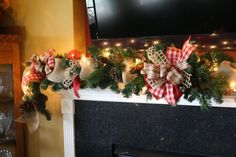 Burlap Christmas Garland Mantle Mesh Deco by CellaJaneCreations, $165.00