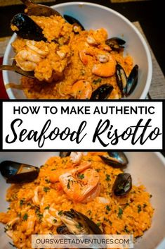 This authentic seafood risotto is an inspired dish from Southern Italy. It is a creamy healthy and easy dinner recipe to enjoy for the whole family or for date night. Make this delicious recipe and make your home feel like Italy. Entree Recipes, Easy Dinner Recipes, Cooking Recipes, Healthy Recipes, Cooking Risotto, Risotto Recipes, Italian Dishes, Italian Recipes, Seafood Dishes