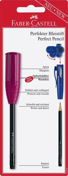 Amazon.com : Faber-castell Perfect Pencil with Built-in Wastebox Red / Blue / Black : Writing Pencils : Office Products