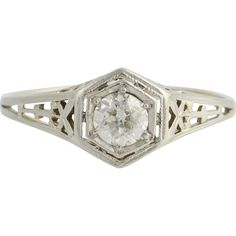 Your romance will last forever when you propose with a vintage engagement ring! This exquisite ring dates from the Art Deco Era, circa 1920?s-1930?s,