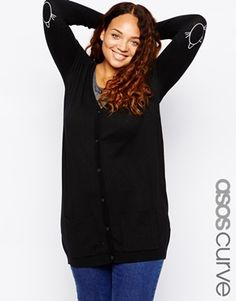 ASOS CURVE Cardigan With Cat Elbow Patch