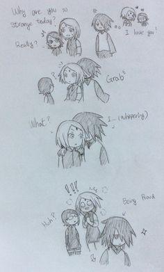 "What did you say sasuke??? Meh...He could say ""I like u"" and sakura would melt. So... -_-"