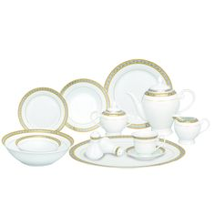 Silver and Gold Accent Porcelain Dinnerware Set of 54  sc 1 st  Pinterest : rectangular dinnerware - pezcame.com