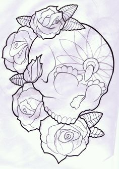 Candy Skull And Roses Tattoo Design By Thirteen7s On Deviantart Design 900x1284 Pixel