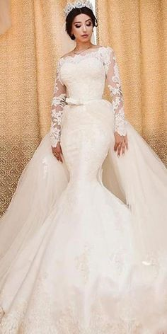 c47bfc394d Amazing Tulle Off-the-shoulder Neckline 2 In 1 Wedding Dresses With Lace  Appliques