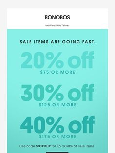 Ends tomorrow: Up to 40% off all sale items. - Bonobos