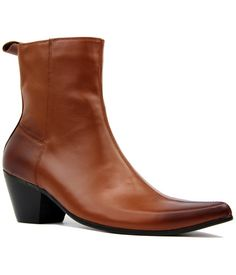 Casbah Retro Mod Zip Fasten Cuban heel Chelsea Boots in Brown Leather from Madcap England  #madcapengland #casbah #chelseaboots #retro #mod #60s #sixties #1960s #fashion #mens #styling #shoes #boots
