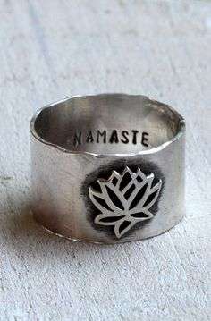 Namaste lotus ring yoga jewelry