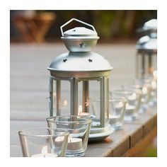 Hanging Silver Galvanized Steel Cutout Stars Candle Lantern #IKEA #Traditional